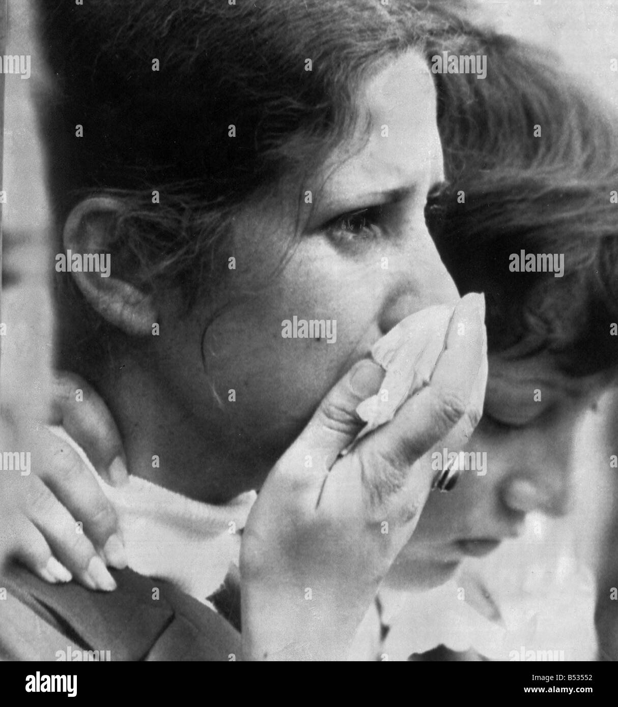 Munich 1972 Olympic Games;Israeli swimmer Shlomit Nir in tears at the end of the memorial service at the Olympic - Stock Image
