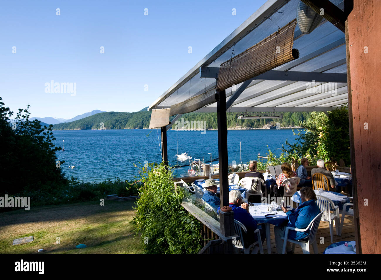 Laughing Oyster Restaurant, Malaspina Inlet Desolation Sound British Columbia Canada - Stock Image