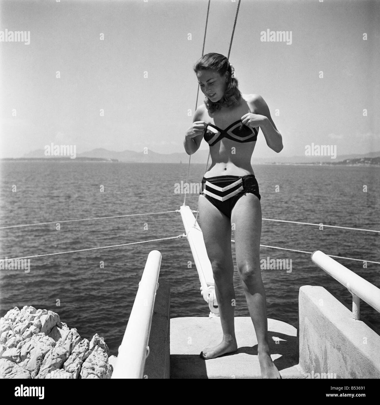 South of France. Yvonne Viseux at Eden Rock. (Miss France 1947). August  1950 O25463