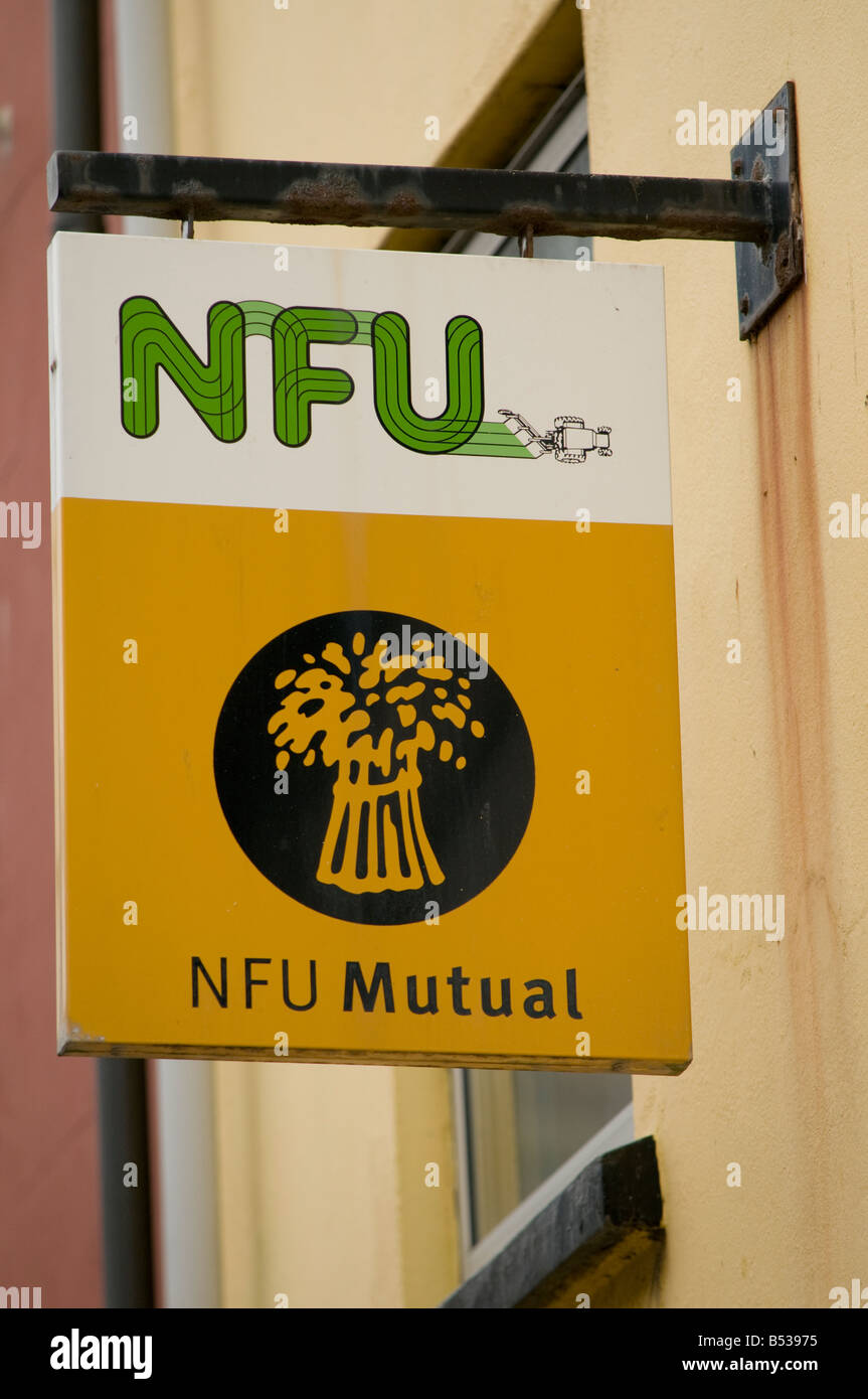 National Farmers Union NFU mutual insurance company sign - Stock Image