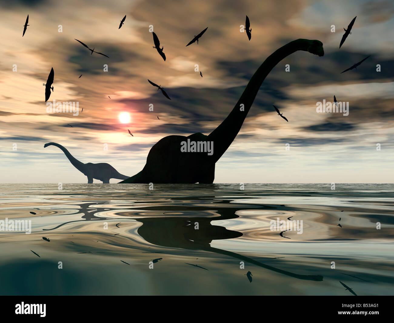 Diplodocus Dinosaurs & Flying Pterosaurs. - Stock Image