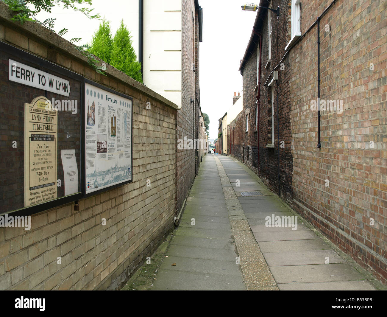 Ferry lane,leading to the ferry boat to west lynn on the great river ouse,Kings Lynn,Norfolk,East Anglia,uk. Stock Photo