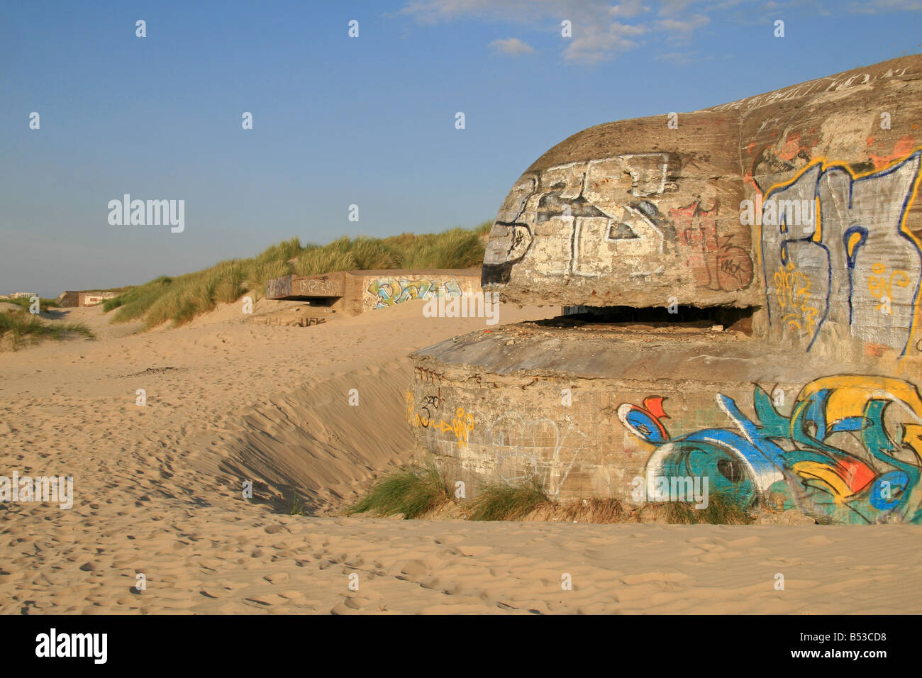 A German concrete bunker, part of Hitlers Atlantic Wall, at Dunkerque (Dunkirk), northern France. - Stock Image