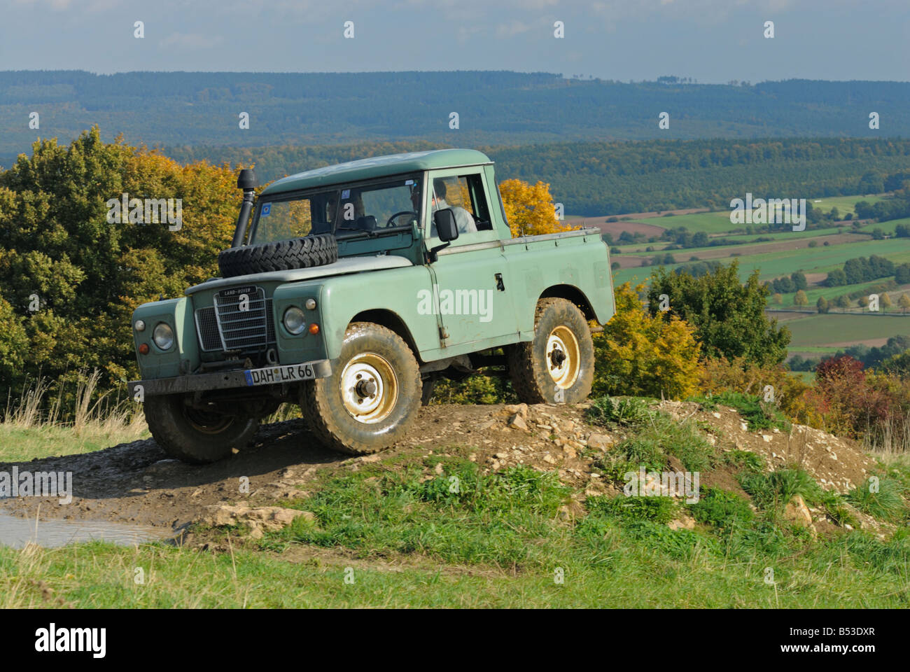 Light green 1970s Land Rover Series 3 SWB Truck Cab on a
