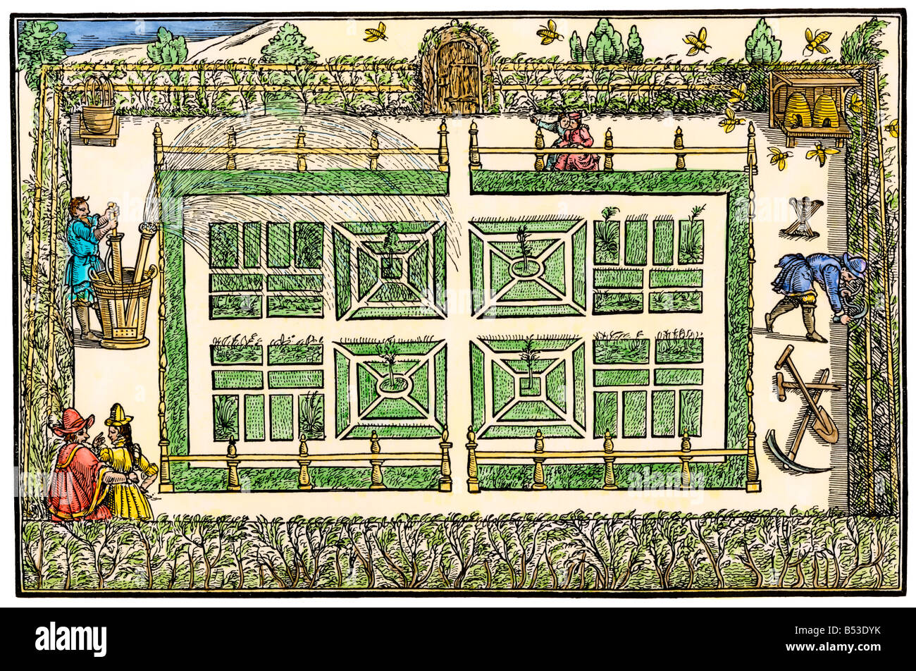 Garden water pumped through beds via intersecting channels formal bed design of 1571. Hand-colored woodcut - Stock Image