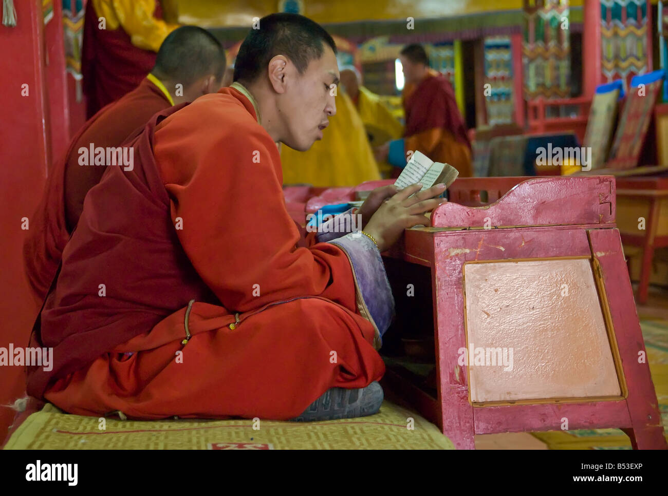 Buddhist Monk Reading their prayers at the Gandan Khiid Monastery UlaanBaatar Mongolia - Stock Image