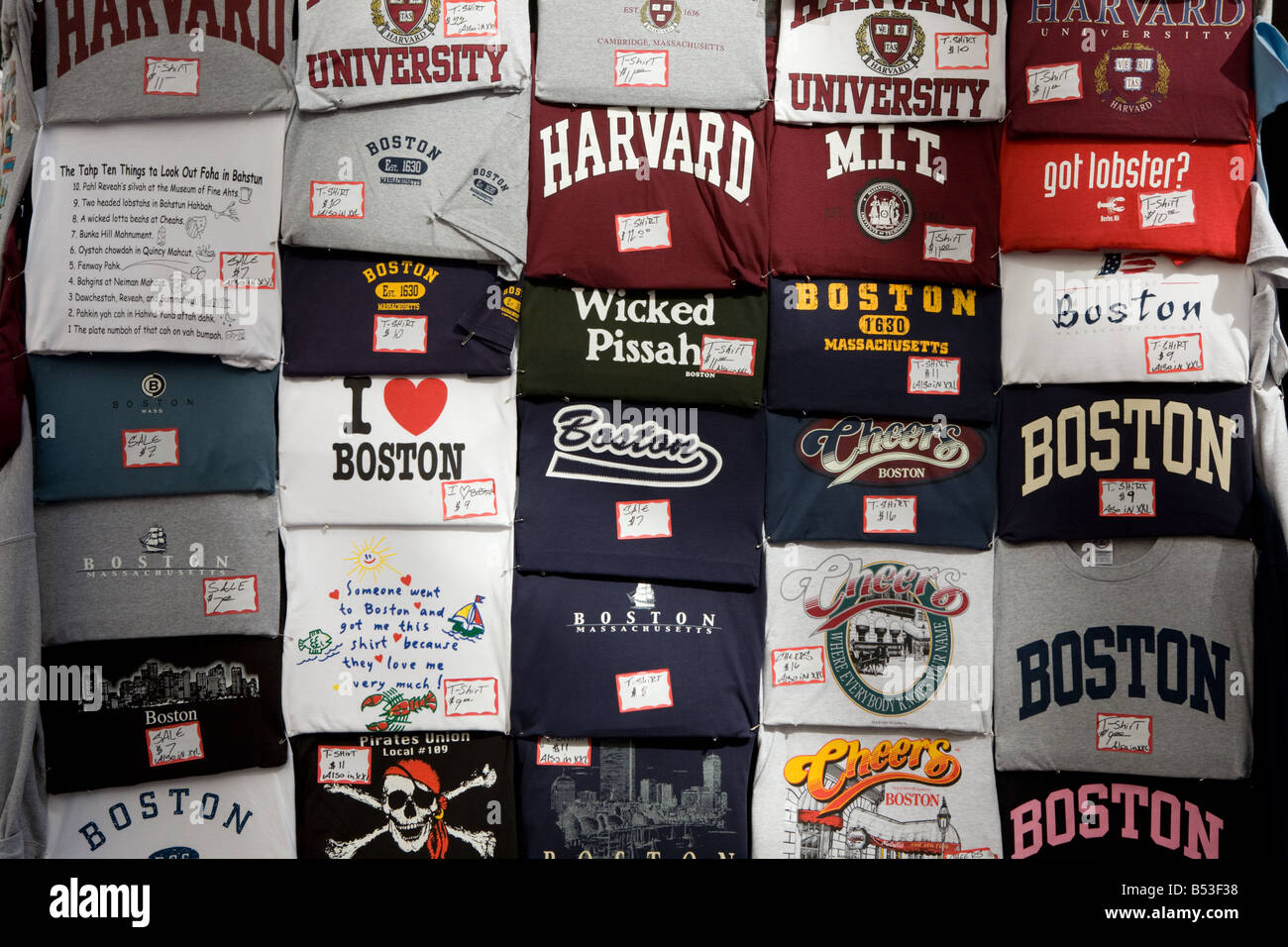 Souvenir tees teeshirts Boston Massachusetts - Stock Image