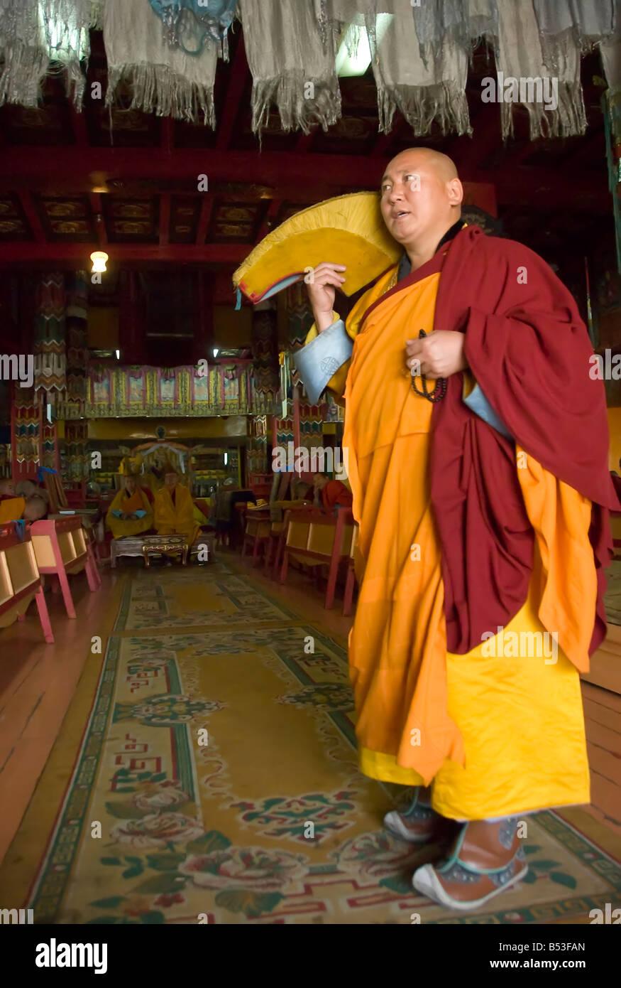 Buddhist ceremony ate the Gandan Khiid Monastery UlaanBaatar Mongolia - Stock Image