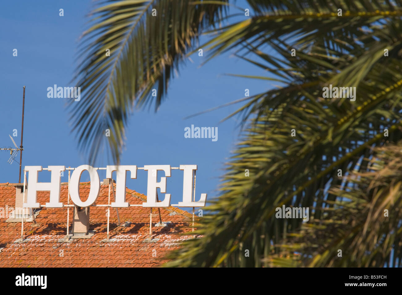 Hotel and palm trees in Sainte-Maxime at the Cote d'Azur / Provence - Stock Image