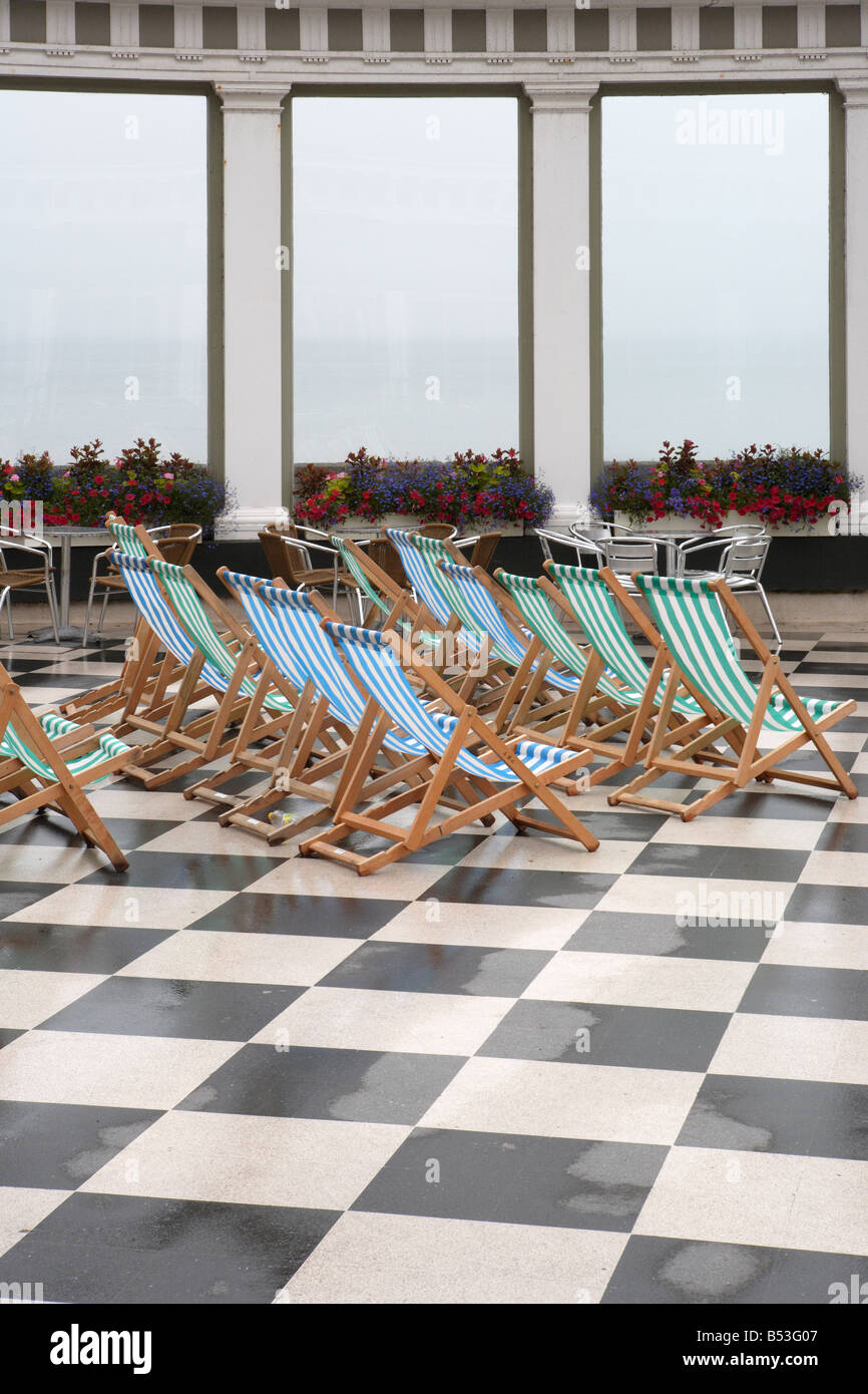 Deckchairs at the Spa Scarborough - Stock Image