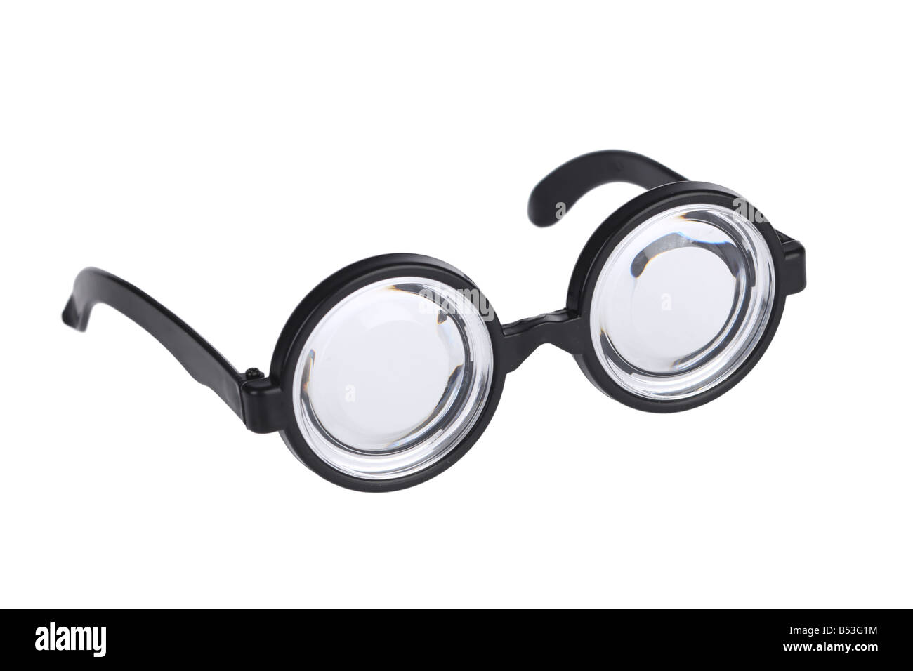 Nerd glasses cutout isolated on white background - Stock Image