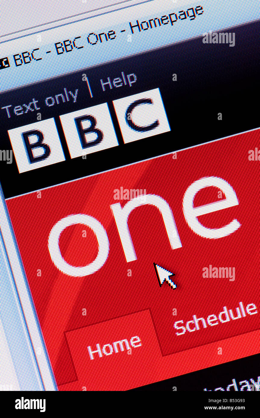 Macro screenshot of BBC One website Editorial use only - Stock Image