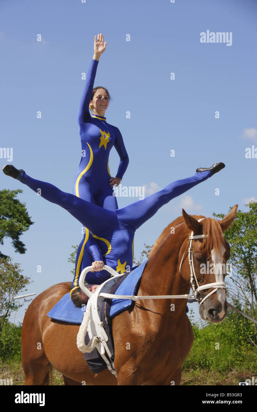 Vaulting - compulsory exercises handstand and free-standing - Stock Image