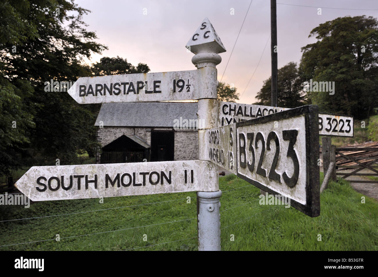 Old style road sign at Simonsbath, Exmoor, UK - Stock Image