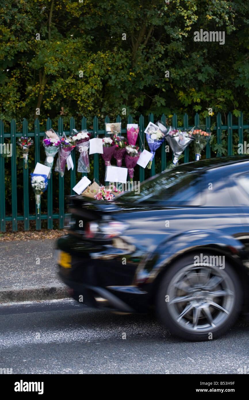 Roadside Memorial Car Crash Victim Stock Photos & Roadside