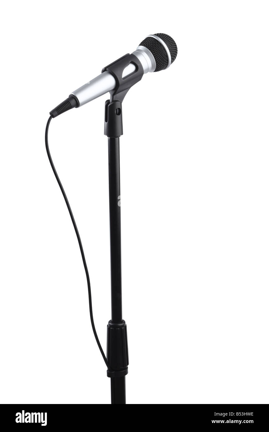 Microphone on stand cutout isolated on white background - Stock Image