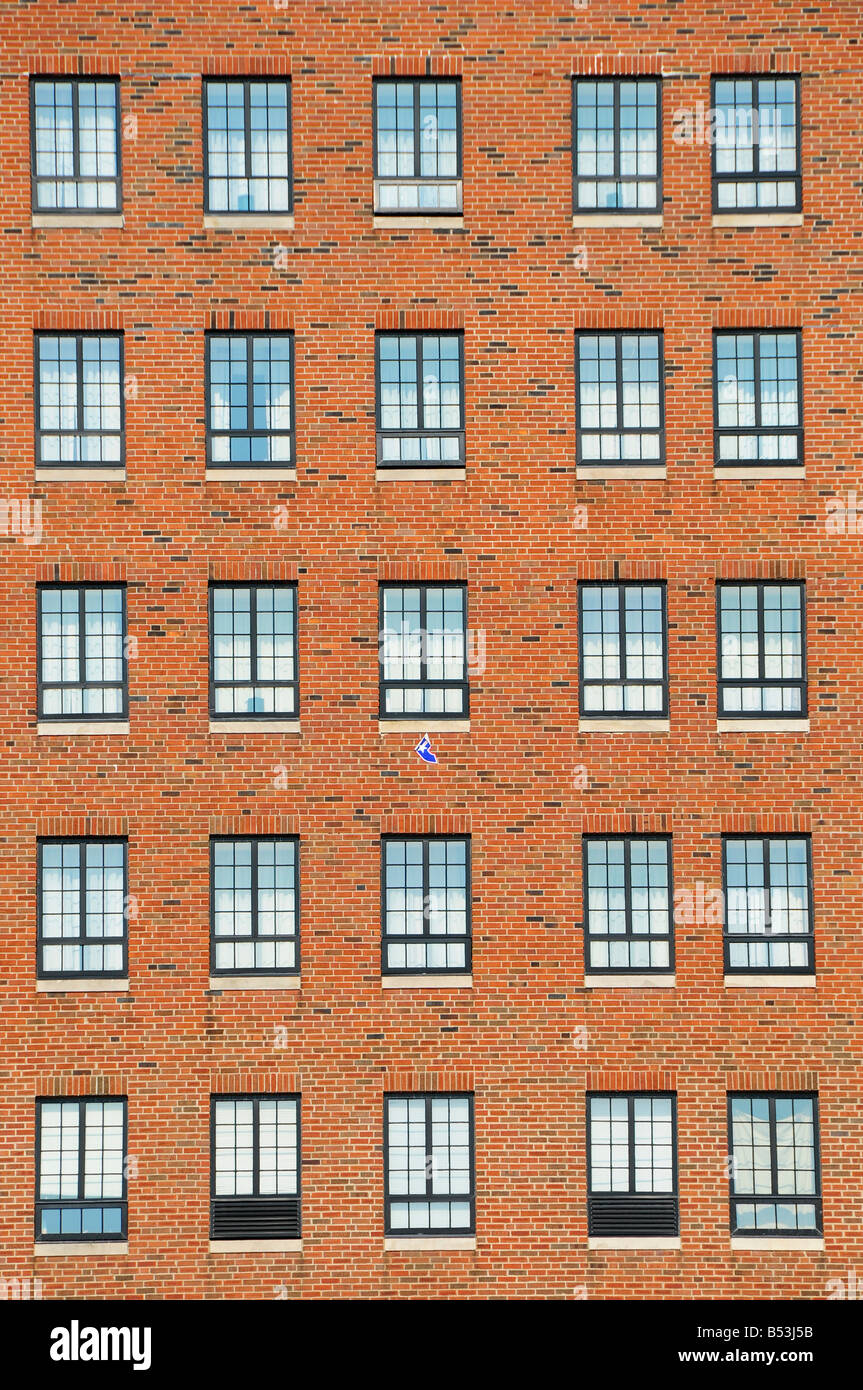 Windows On A Tall Brick Building