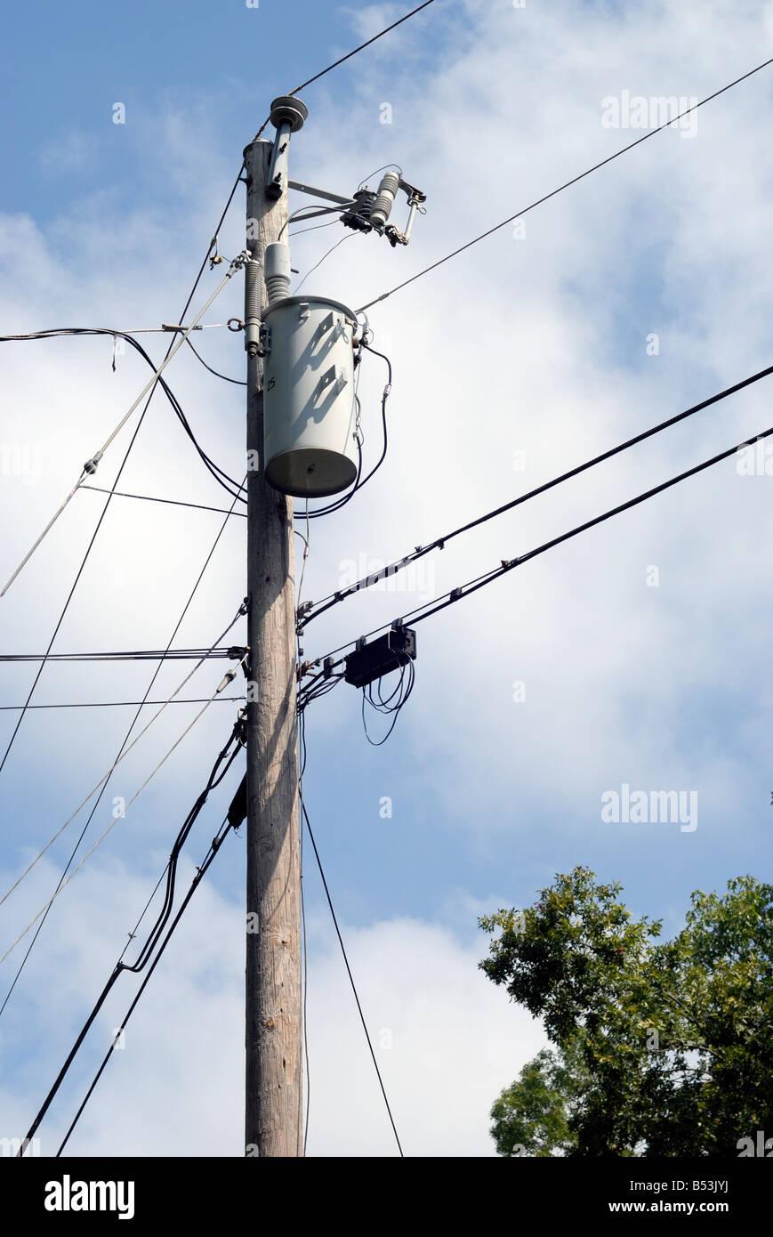 Distribution Transformer Stock Photos Usa Power Wiring Diagram Electrical On A Utility Pole Image