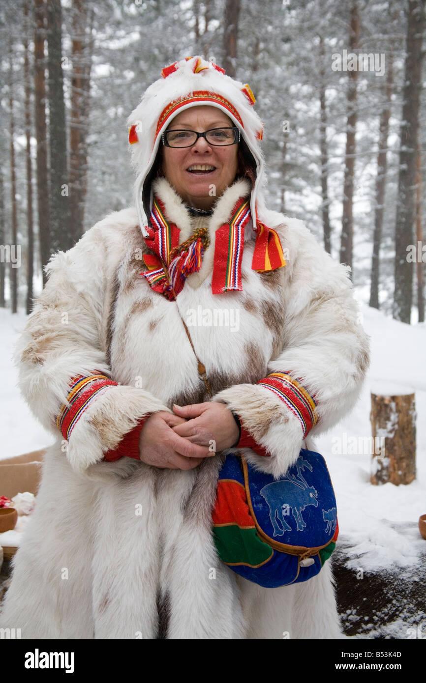 Laplander Kerstin Utsi Folk costume Sweden Winter - Stock Image