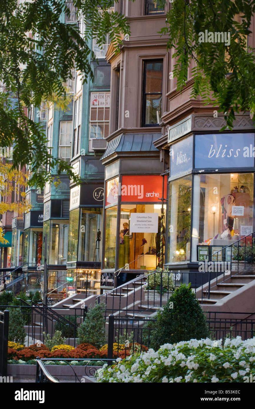 Chic Newbury Street, Boston, Massachusetts, USA. - Stock Image