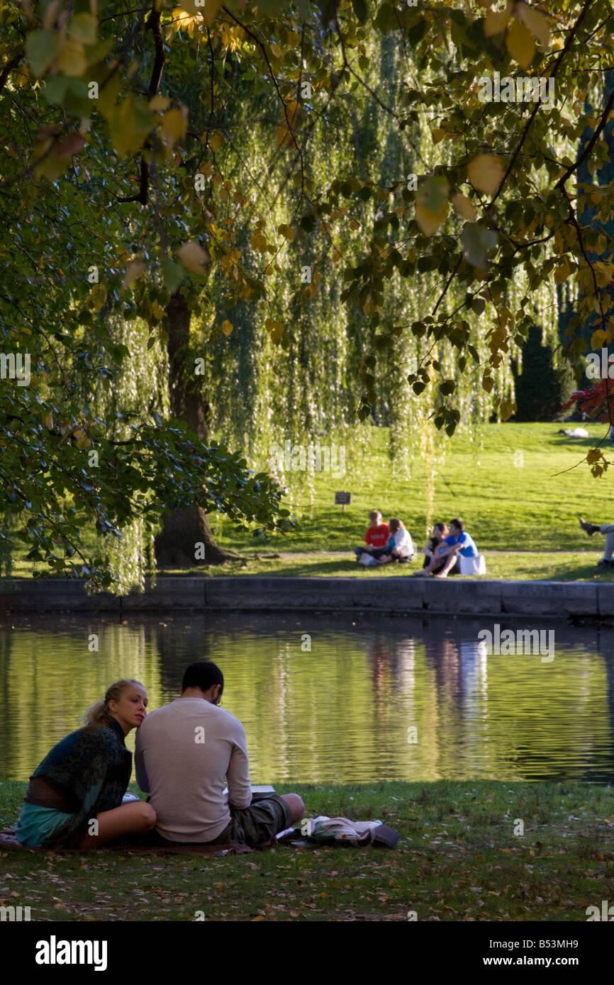 Pleasant autumn day on Boston Common Boston Massachusetts - Stock Image