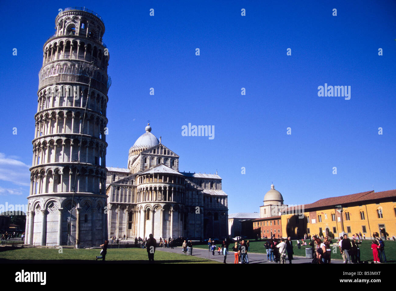 The Leaning Tower and the Cathedral, Piazza dei Miracoli, Pisa, Tuscany, Italy Stock Photo