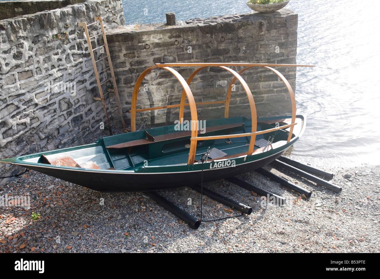Traditional old lake Como boat in Laglio, Como, Italy - Stock Image