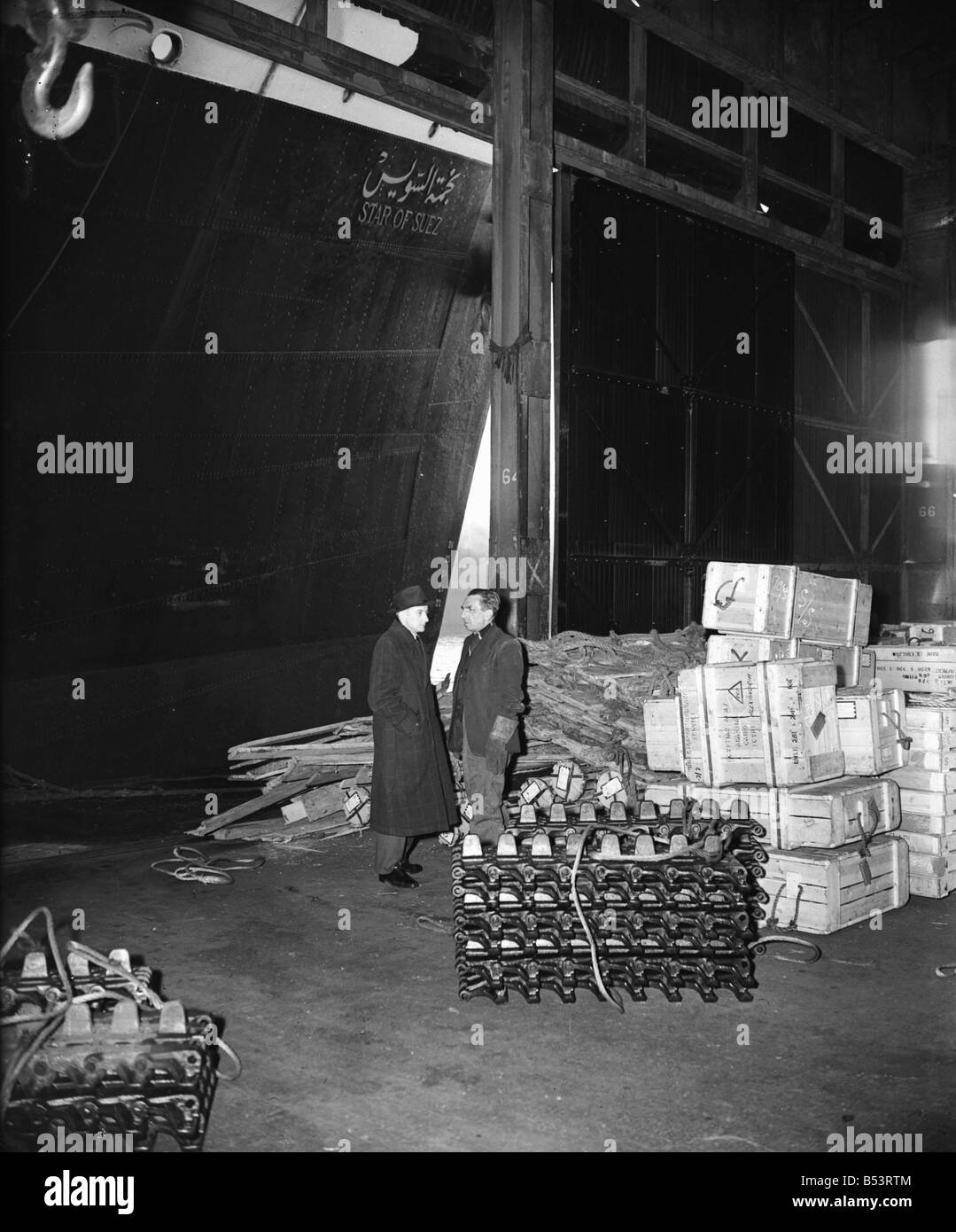 Suez Crisis 1956 British arms waiting to be shipped to Egypt for the Egyptian Army on the ship Star of Suez at Alexander - Stock Image