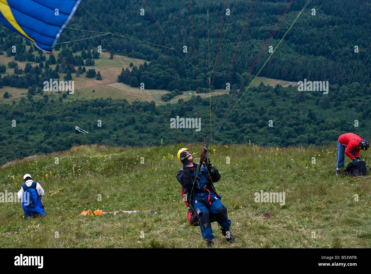 Paragliders on Le Puy de Dome, France Stock Photo