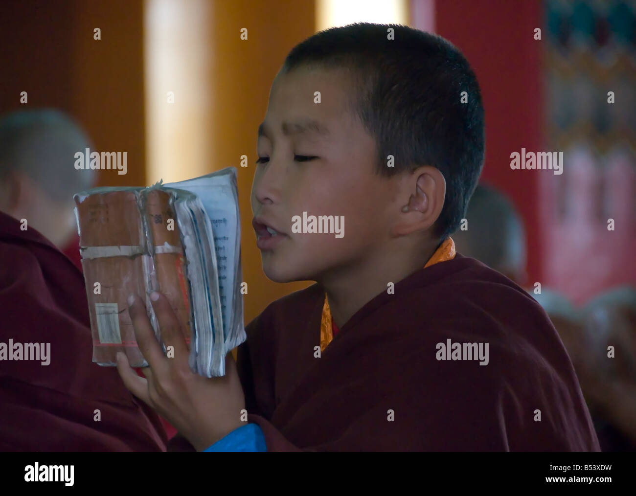 Young Buddhist Monk at the Gandan Khiid Monastery UlaanBaatar Mongolia - Stock Image