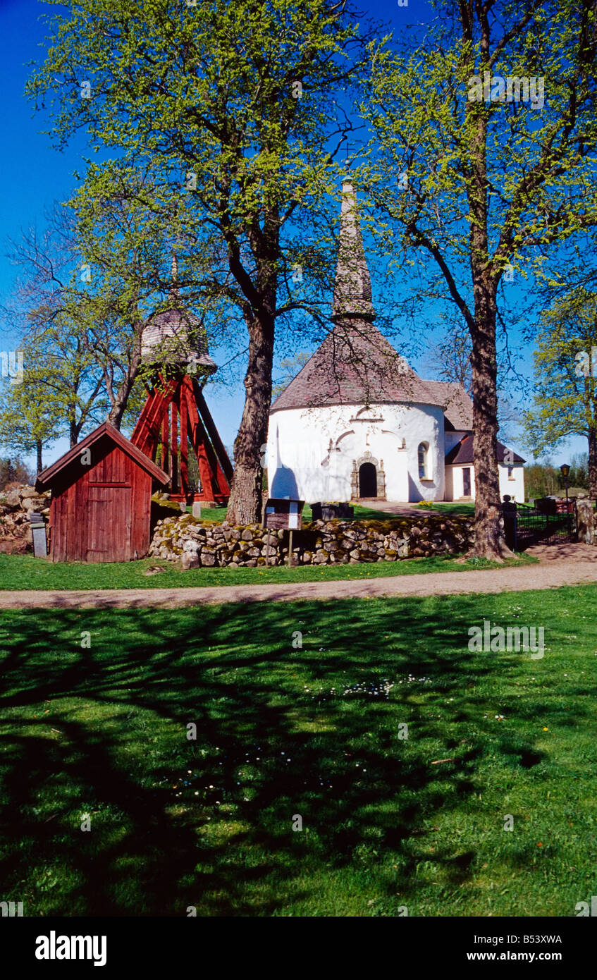 Skorstorps old round church Sweden - Stock Image