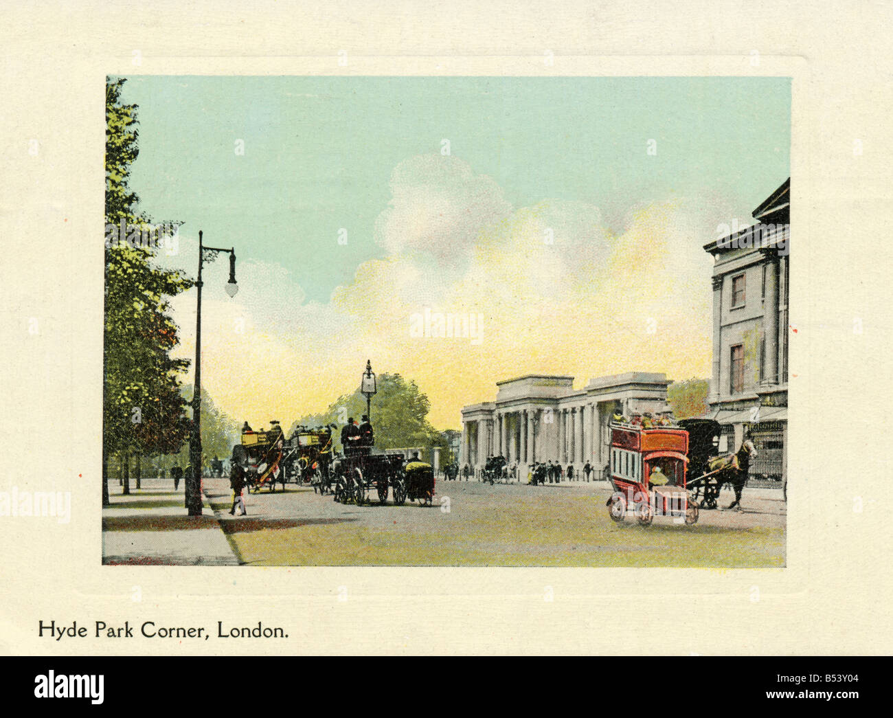 Old vintage picture postcard of Hyde Park Corner London EDITORIAL USE ONLY - Stock Image