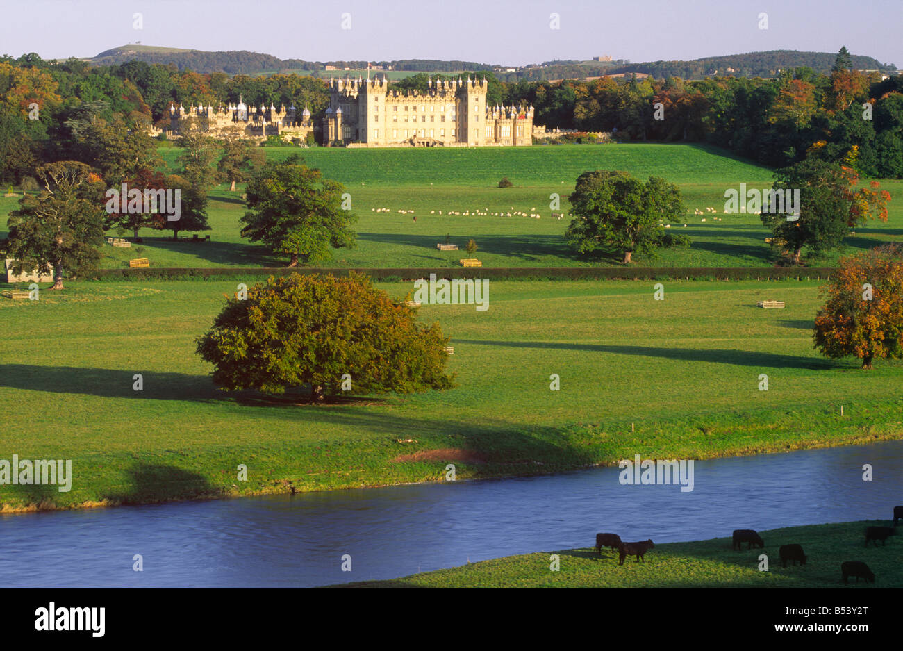 Looking across the River Tweed to Floors Castle from the remains of Roxburgh Castle near Kelso in the Scottish Borders - Stock Image