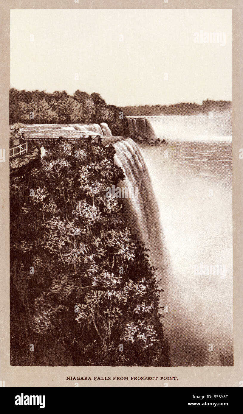 Old vintage American picture postcard  of the Niagra Falls EDITORIAL USE ONLY Stock Photo