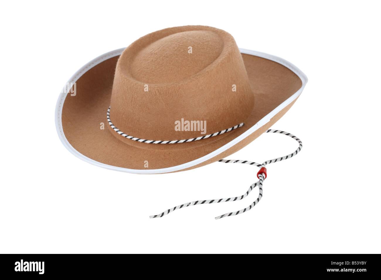 Cowboy hat cutout isolated on white background - Stock Image