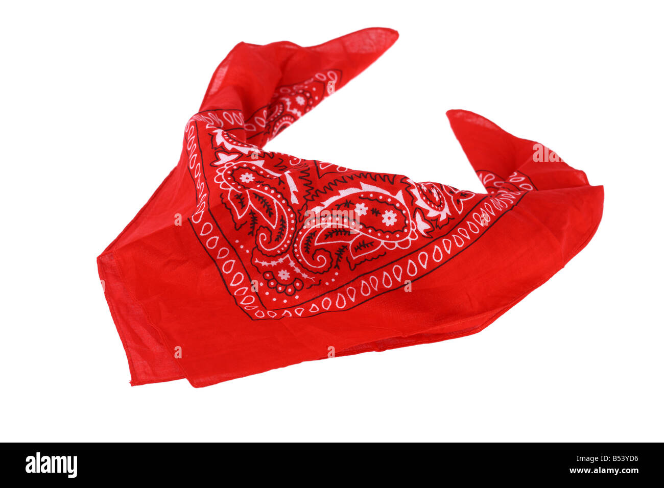 Red handkerchief cutout isolated on white background - Stock Image