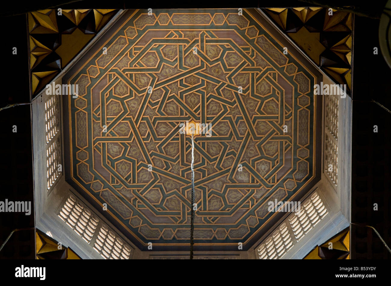 Decorated ceiling inside Al Azhar Mosque university in Old Islamic Cairo - Stock Image