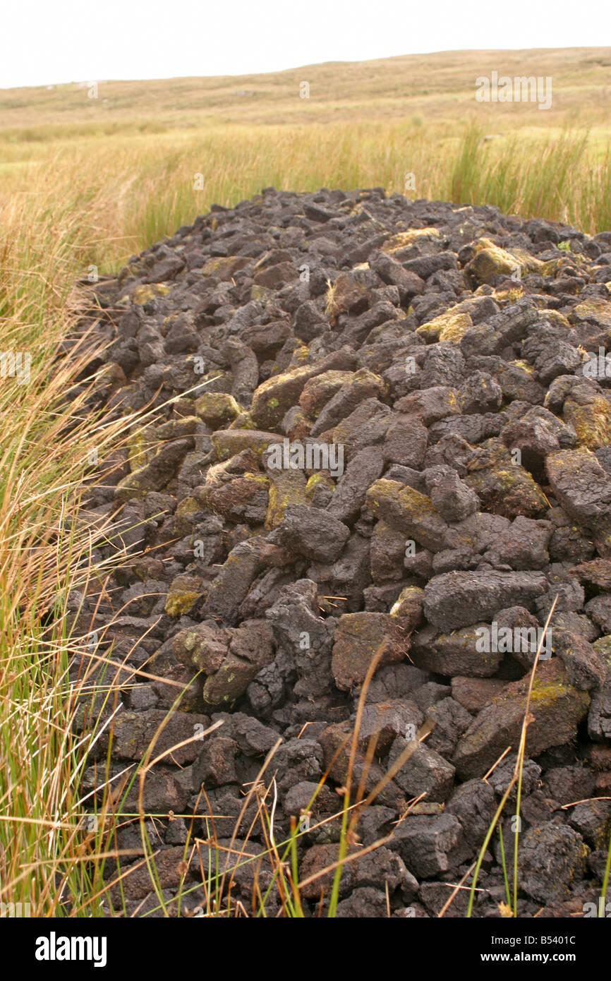 Peat Turfs Co Galway Ireland - Stock Image