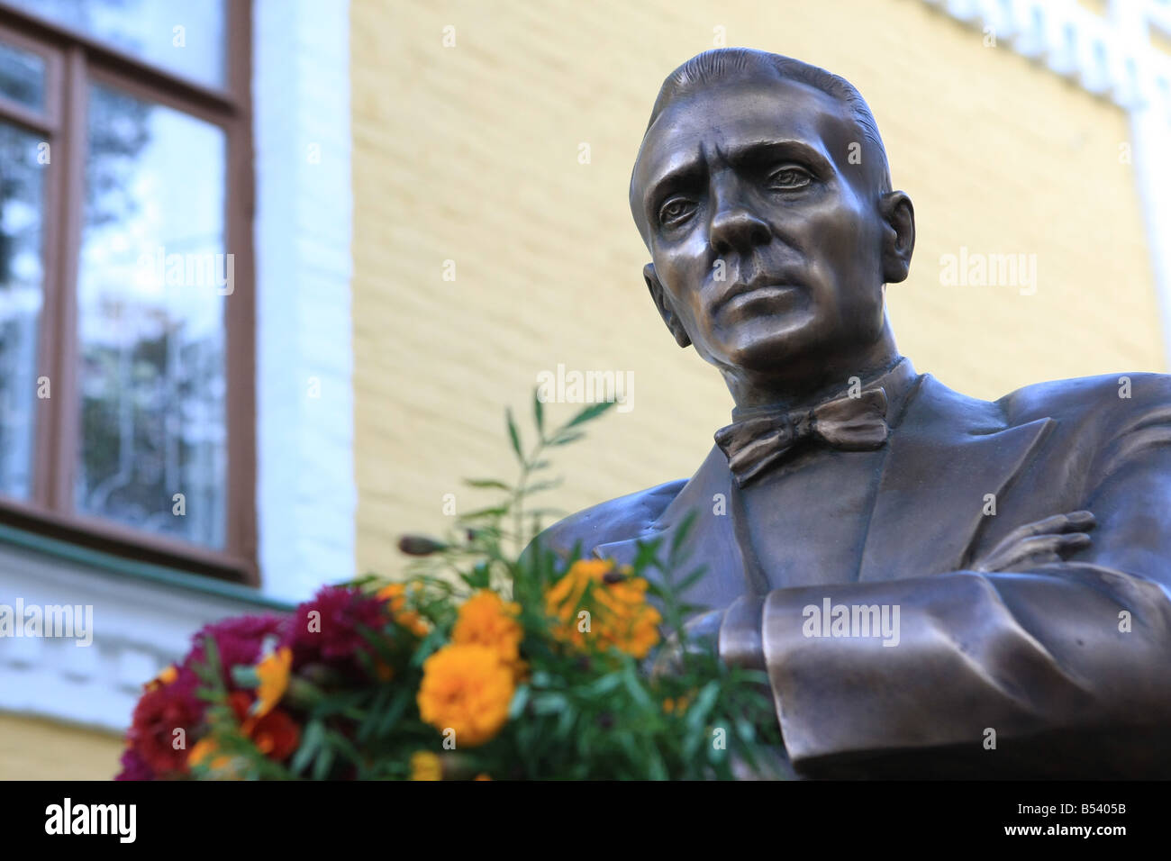 monument to Mikhail Bulgakov in Kyiv - Stock Image