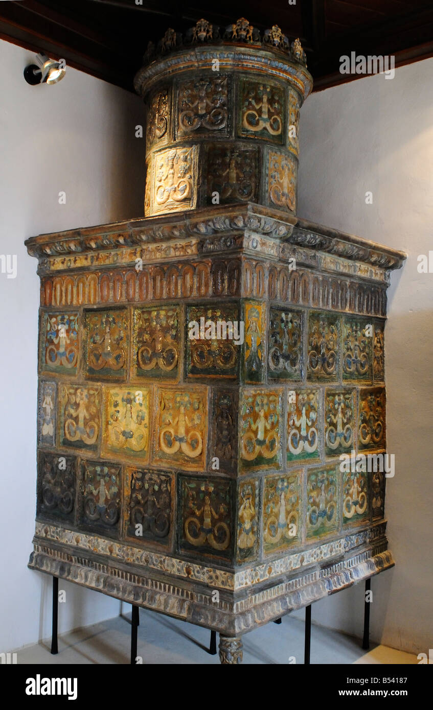 The Castle of Veliki Tabor, Tiled Stove with the the Motive of the Fairy Melusine, Northern County of Zagorje Croatia - Stock Image