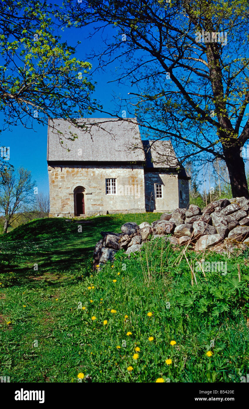 Suntak old church from 1100 century in Tidaholm Sweden - Stock Image