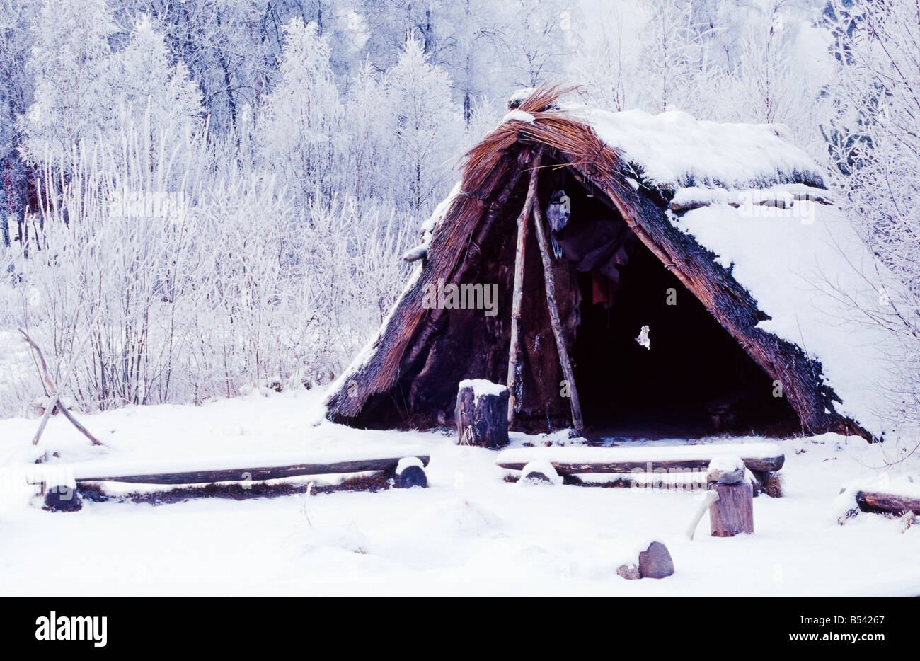 Rebuild hut from stone age - Stock Image