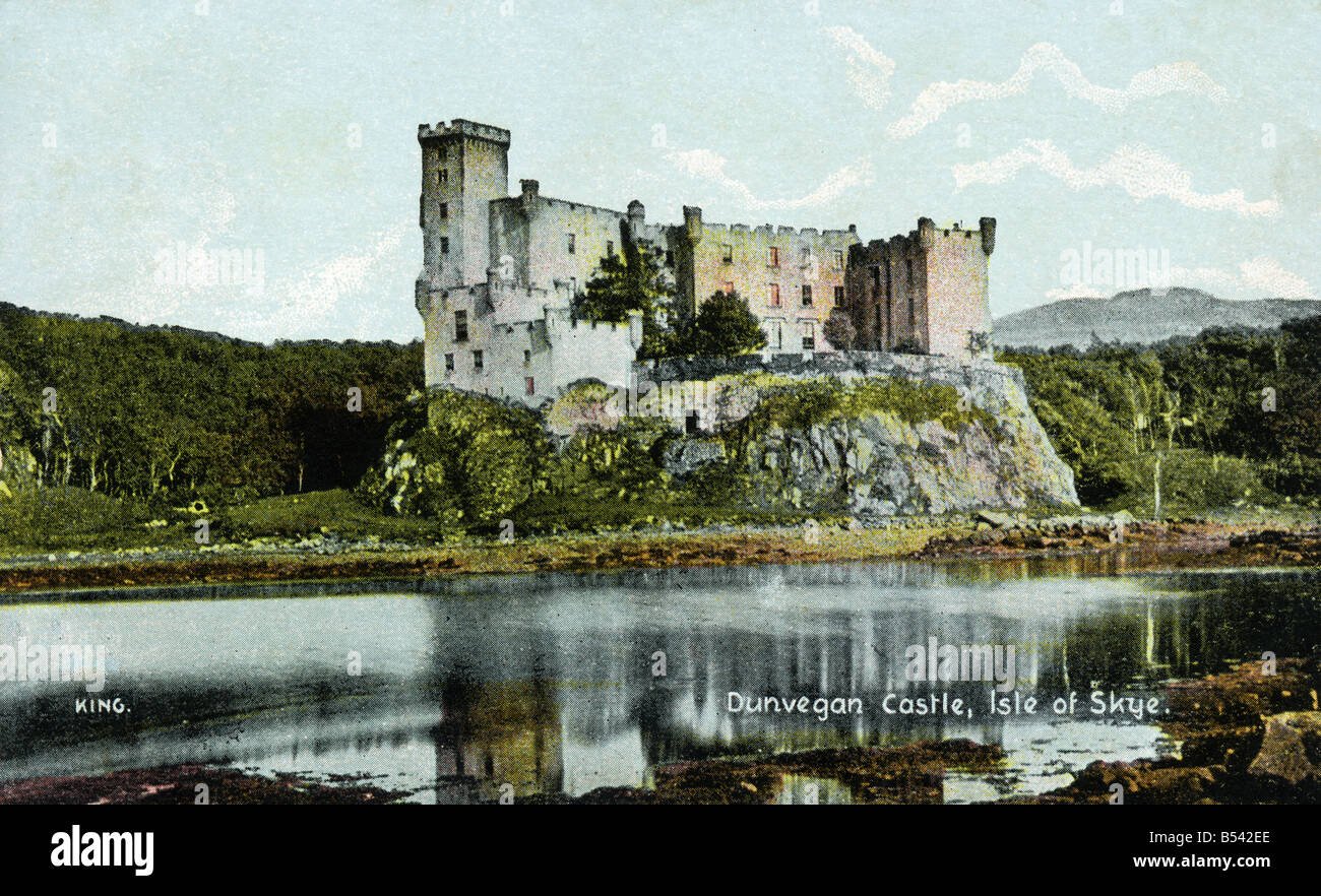 Old vintage picture postcard of Dunvegan Castle Isle of Skye   EDITORIAL USE ONLY Stock Photo