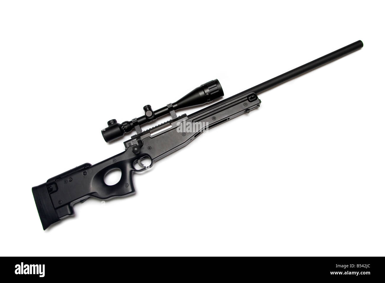 Modern military sniper rifle with riflescope isolated on white background L96 - Stock Image