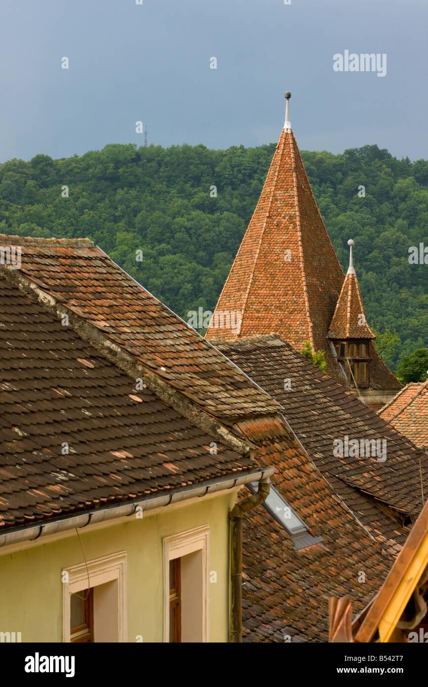 Saxon rooves in Sigishoara Transilvania Romania Stock Photo