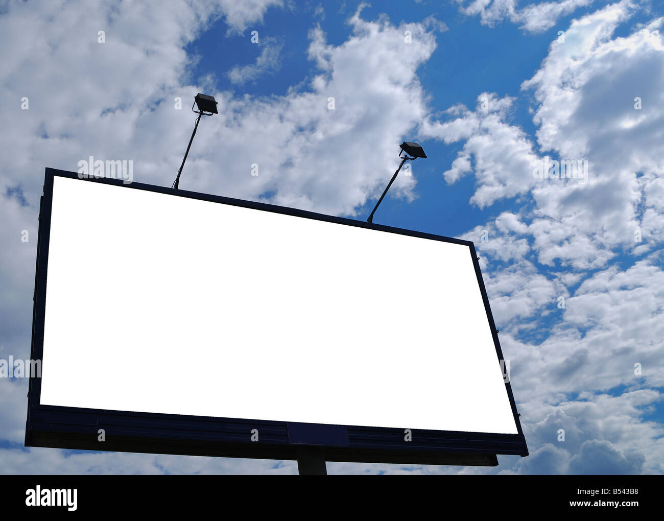 clean empty billboard on a background beautiful sky - Stock Image