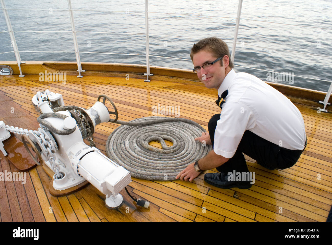 deckhand luxury yacht Canada - Stock Image