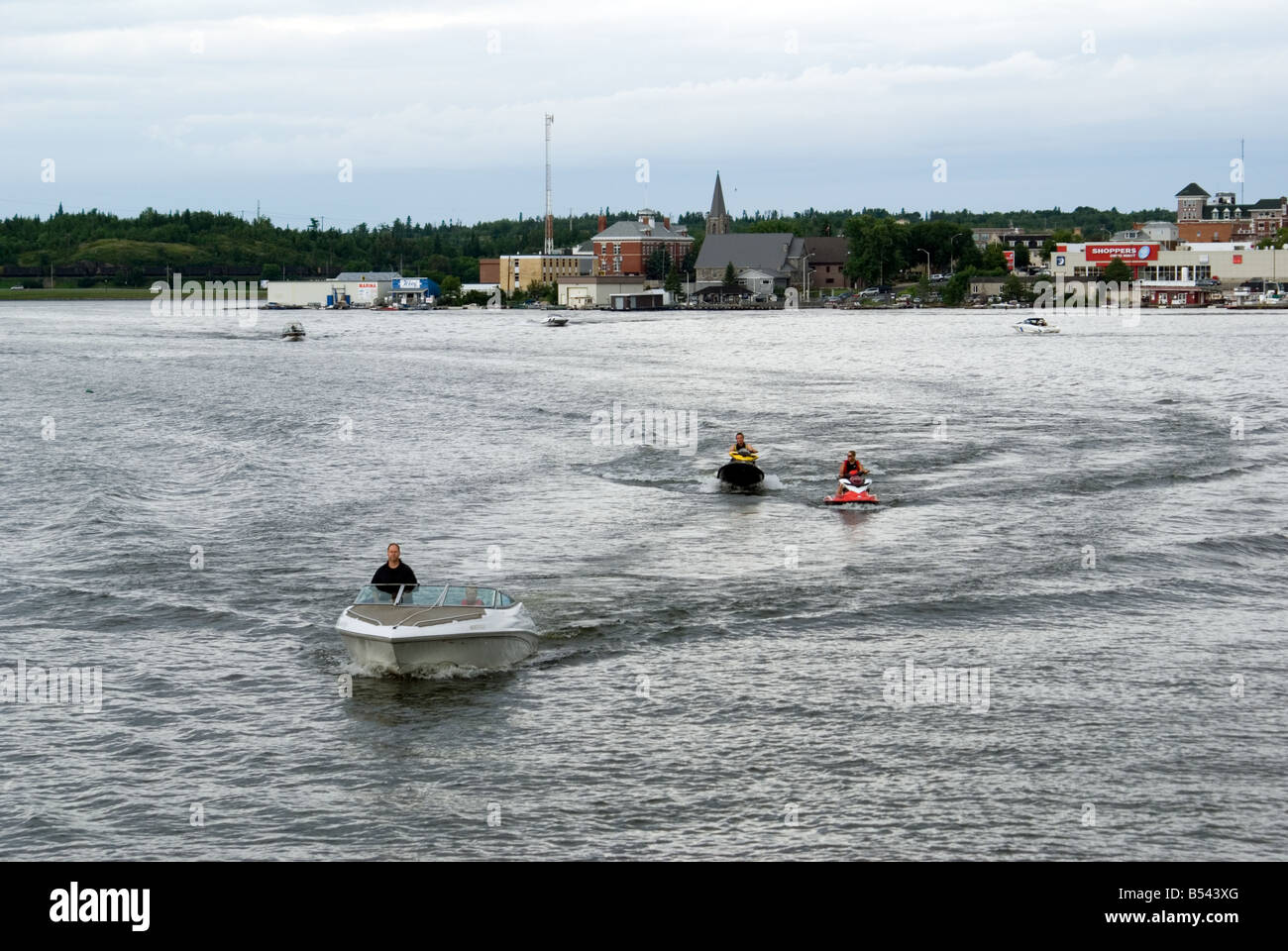 boaters Kenora Lake of the Woods - Stock Image