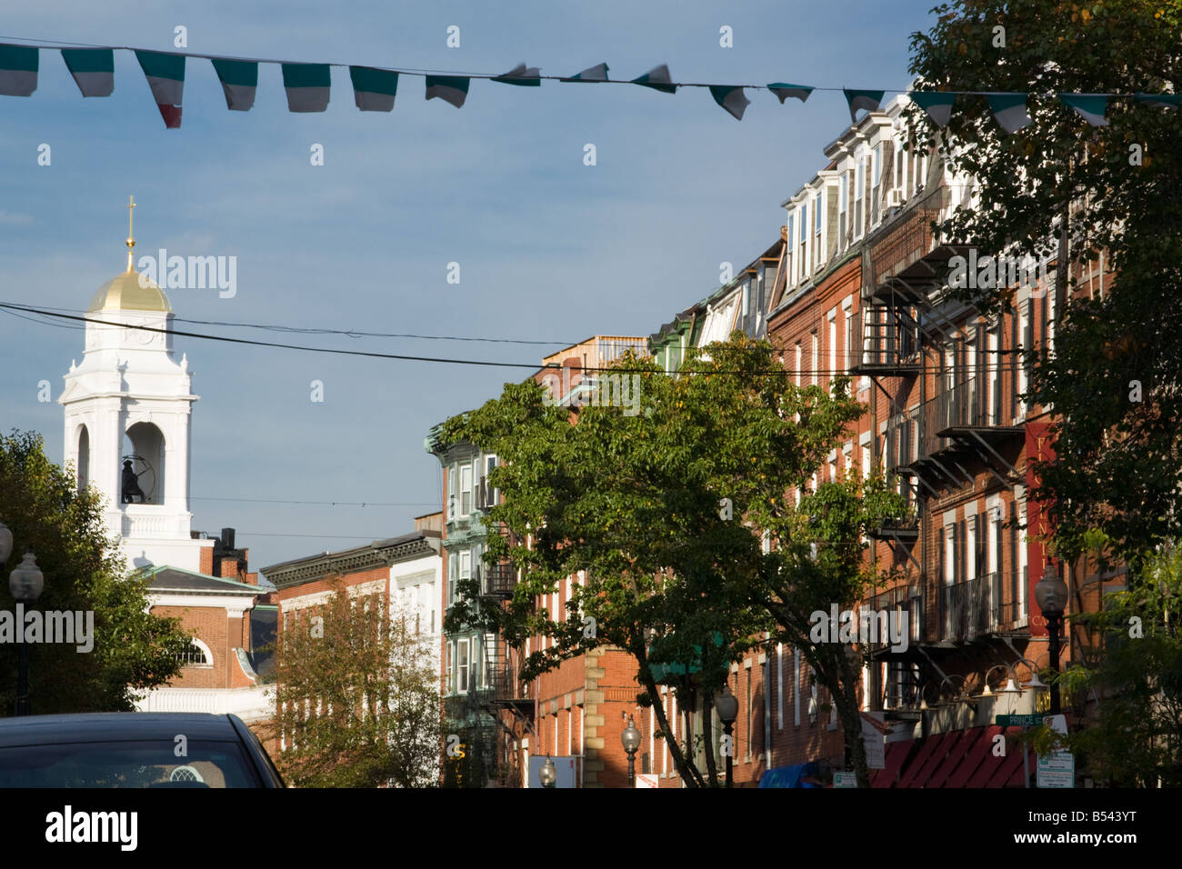 Hanover Street center of Italian culture in North End Boston Massachusetts - Stock Image