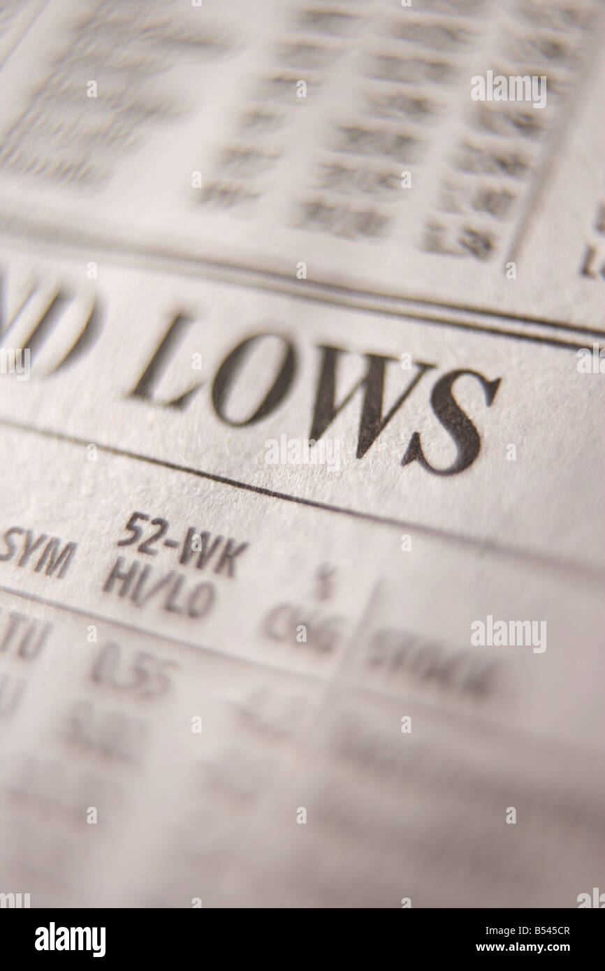 Close up of stock prices in newspaper - Stock Image